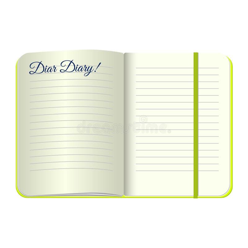 Il modello apre un blocco note in bianco con le parole caro Diary Vector il diario personale con una copertura e un segnalibro ve illustrazione di stock