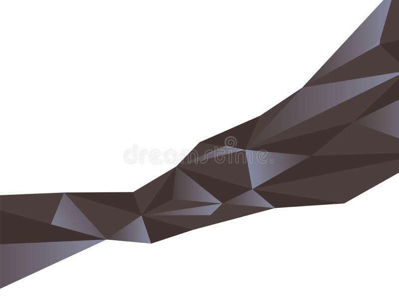 Il modello astratto dei triangoli neri con scintillio blu ha esteso il vettore diagonale della faccia del cristallo isolati su fo illustrazione vettoriale