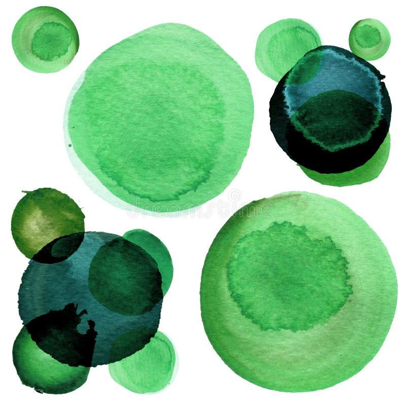 Il modello astratto dell'acquerello variopinto verde circonda le dimensioni differenti Forme geometriche rotonde semplici sparse  illustrazione vettoriale