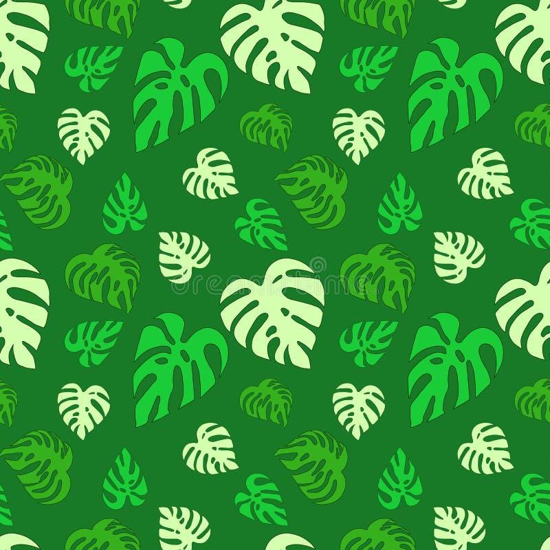Il modello astratto senza cuciture illustrato con il monstera verde va illustrazione vettoriale