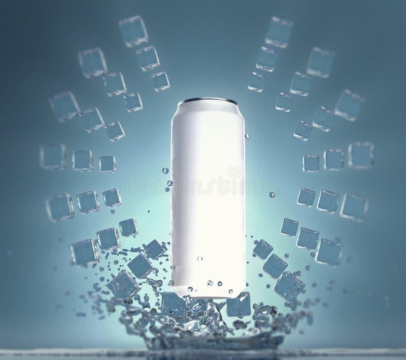 Il modello bianco in bianco della latta di birra con i cubetti di ghiaccio che galleggiano nei cerchi nell'aria che appende sopra illustrazione di stock