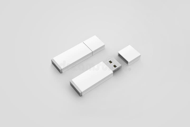 Il modello bianco in bianco di progettazione della chiavetta USB, la rappresentazione 3d, ha aperto chiuso immagine stock libera da diritti