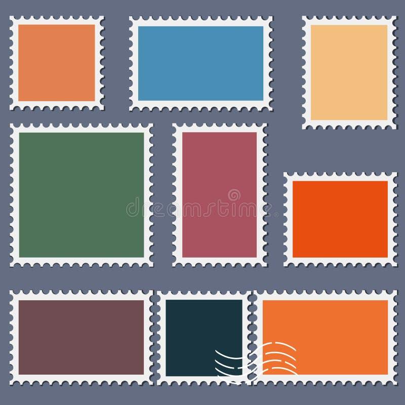 Il modello in bianco dei francobolli ha messo su fondo scuro Francobolli del quadrato e di rettangolo per le buste, cartoline Ill illustrazione di stock
