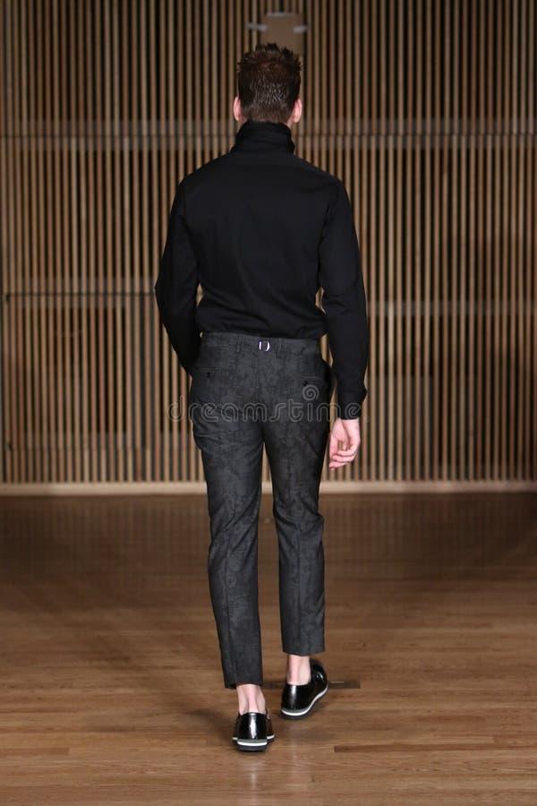 Il modello cammina pista alla sfilata di moda di Loris Diran durante il F/W 2016 degli uomini di settimana di modo di New York immagini stock