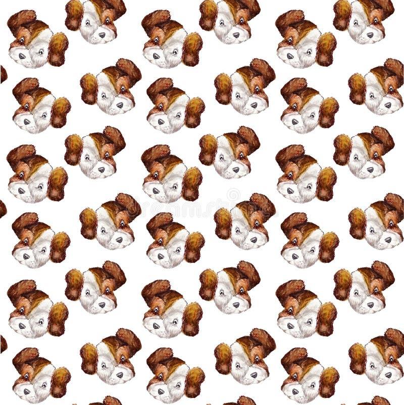 Il modello canino senza cuciture dell'acquerello dei ritratti del cucciolo di bianco con il terrier marrone di russell della pres illustrazione vettoriale