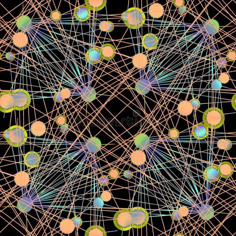 Il modello complesso dei cerchi si è collegato con le linee verde di calce porpora blu-chiaro arancio sul nero illustrazione di stock