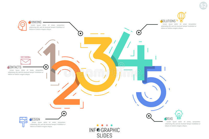 Il modello creativo di progettazione di Infographic, cinque figure variopinte si è collegato con le icone e le caselle di testo royalty illustrazione gratis
