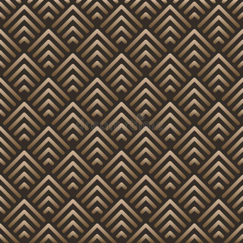 Il modello d'annata geometrico astratto del fondo ha ispirato in art deco Forme di vettore fatte delle linee dorate illustrazione vettoriale