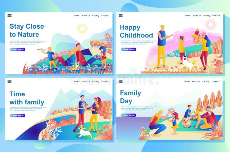 Il modello d'atterraggio di progettazione della pagina di web mostra le coppie felici che giocano con i bambini sulla natura royalty illustrazione gratis