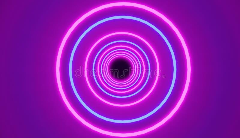 Il modello dei cerchi al neon d'ardore blu e rosa, rende, retro stile illustrazione di stock