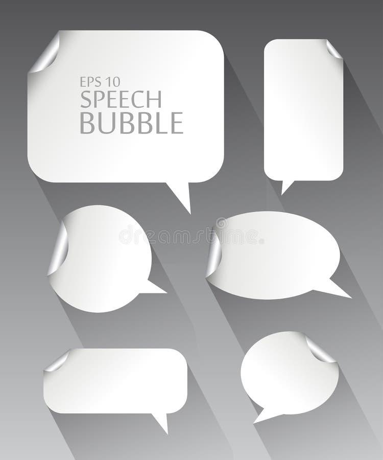 Il modello dei fumetti bianchi vuoti differenti con metallo d'argento ha curvato l'ombra d'angolo e lunga royalty illustrazione gratis