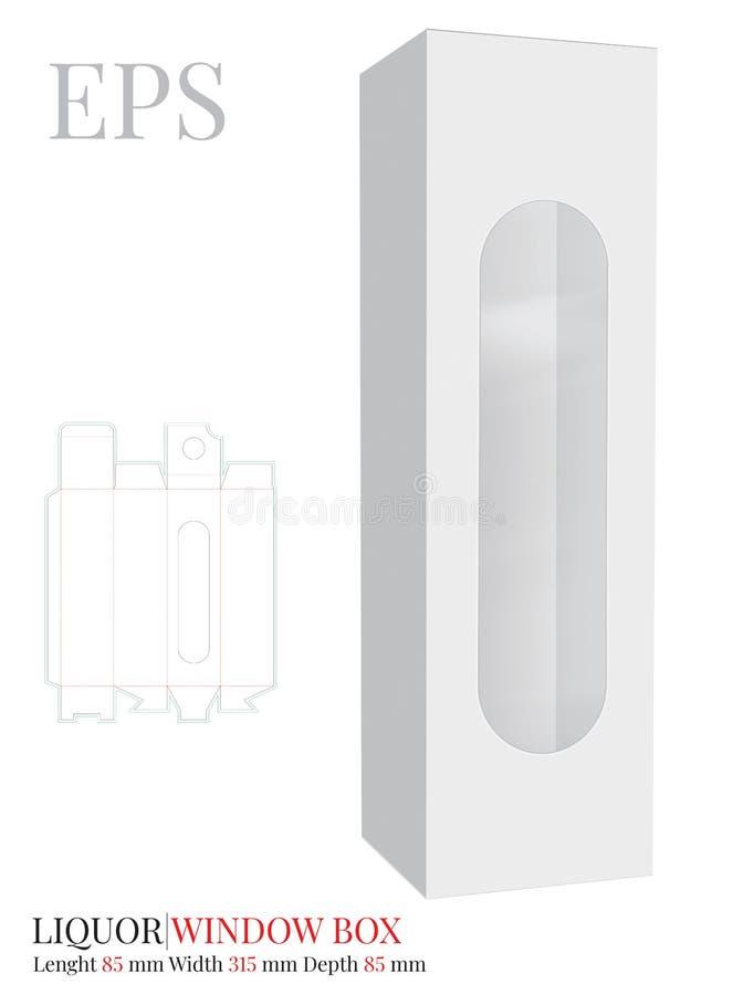 Il modello del contenitore di liquore, vettore con tagliato/laser ha tagliato gli strati Bianco, chiaro, spazio in bianco, conten illustrazione vettoriale