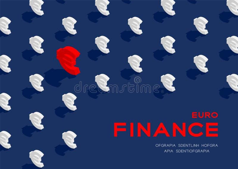 Il modello del segno 3d dell'euro EUR di valuta manifesto di concetto, di finanza isometrici di affari ed illustrazione orizzonta royalty illustrazione gratis