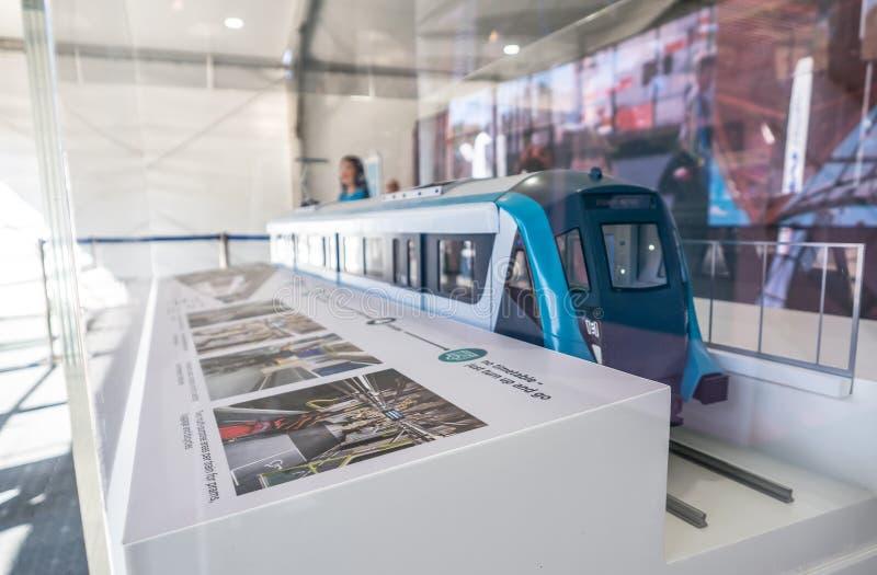 Il modello del treno di Sydney Metro è il più grande progetto di trasporto pubblico di Australia's La nuova ferrovia della metr fotografia stock libera da diritti