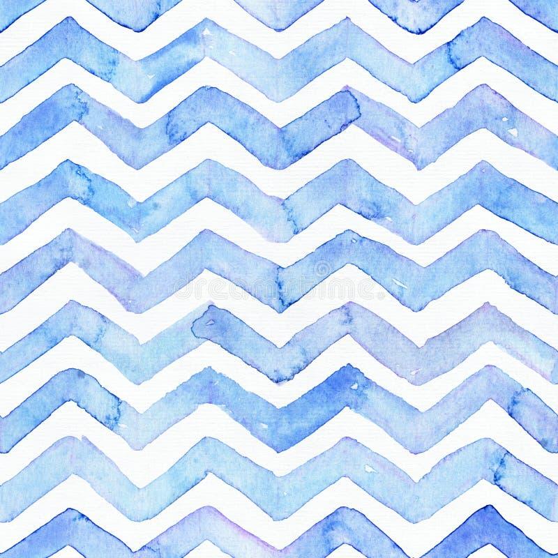 Il modello dell'acquerello blu con le bande blu di zigzag, disegnate a mano senza cuciture con le imperfezioni ed acqua spruzza P immagine stock libera da diritti