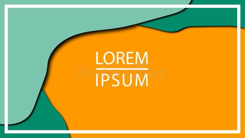 Il modello dell'aletta di filatoio o della copertura con carta astratta 3d ha tagliato il fondo arancio verde Colori di contrasto illustrazione vettoriale