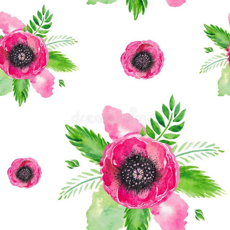 Il modello dell'illustrazione dell'acquerello senza cuciture dei papaveri di fioritura rossi stacca l'insieme dal gambo floreale  illustrazione vettoriale