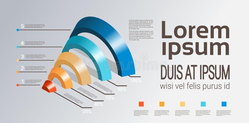 Il modello dell'imbuto di infographics del grafico trattato di cronologia di affari utilizzato per la disposizione di flusso di l illustrazione di stock