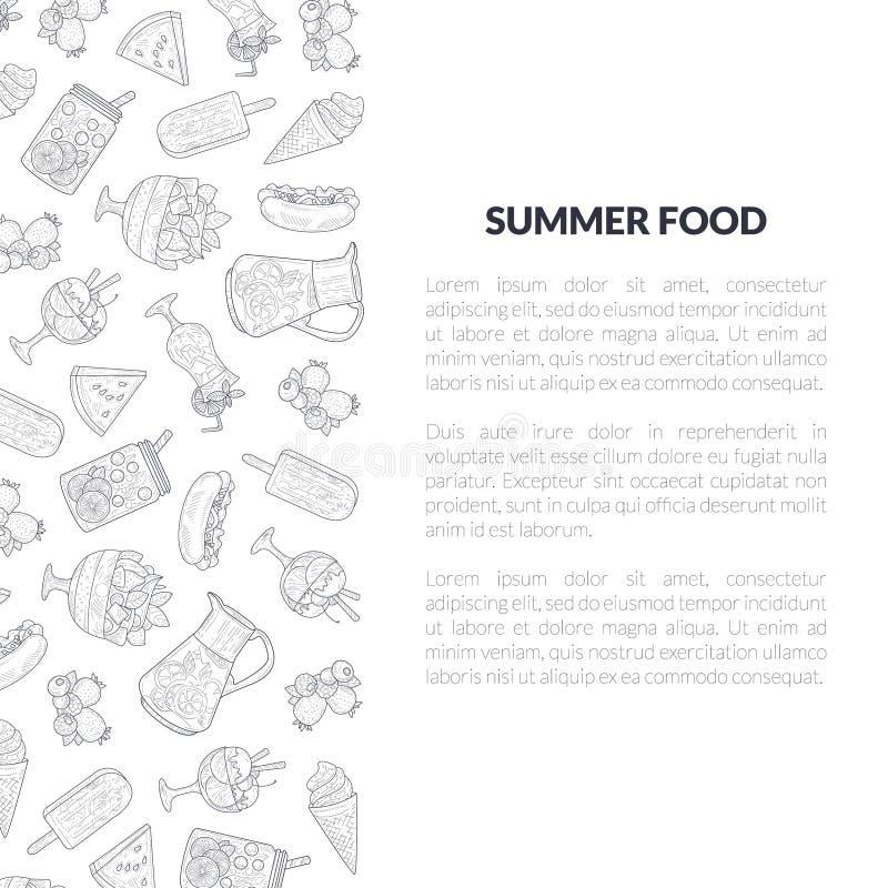 Il modello dell'insegna dell'alimento dell'estate con il posto per testo ed il modello disegnato a mano, l'estate, feste progetta illustrazione vettoriale