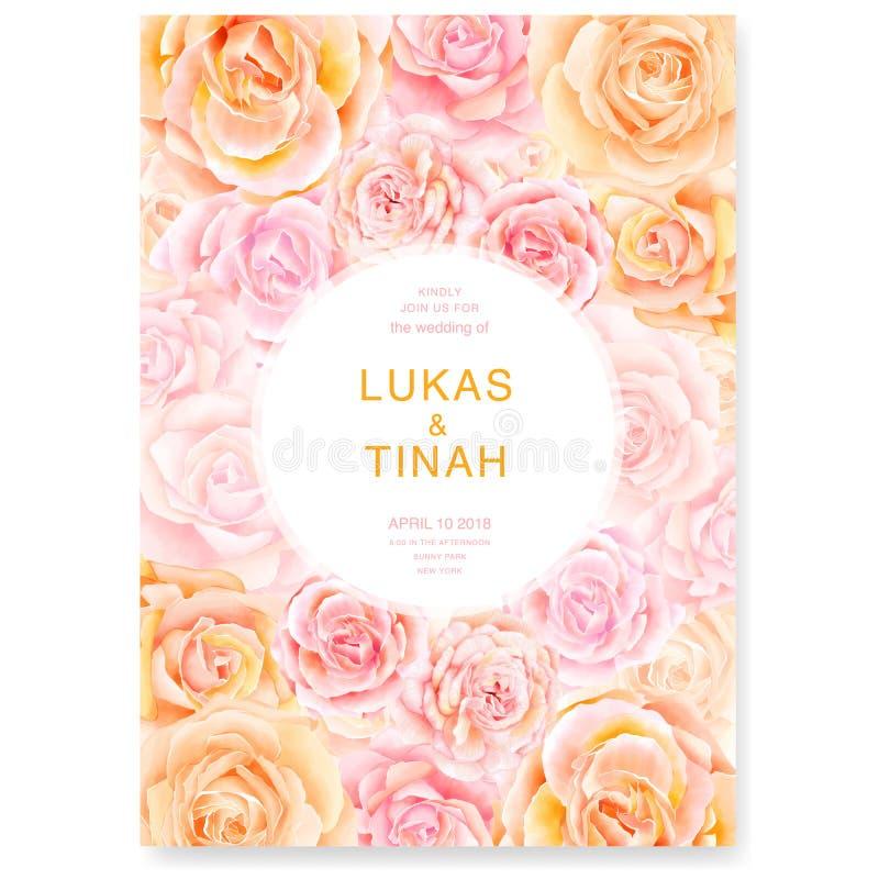 Il modello della carta dell'invito di nozze con le belle rose fiorisce royalty illustrazione gratis