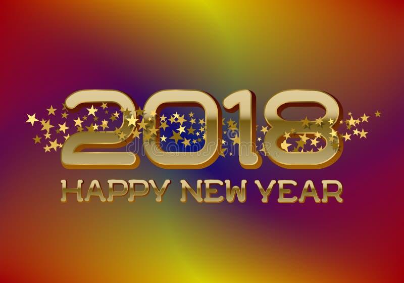 Il modello della cartolina d'auguri di 2018 buoni anni su fondo mescolato variopinto con brillare stars illustrazione di stock