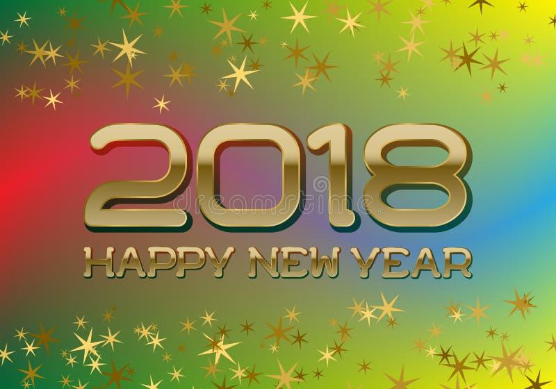 Il modello della cartolina d'auguri di 2018 buoni anni su fondo mescolato variopinto con brillare stars illustrazione vettoriale
