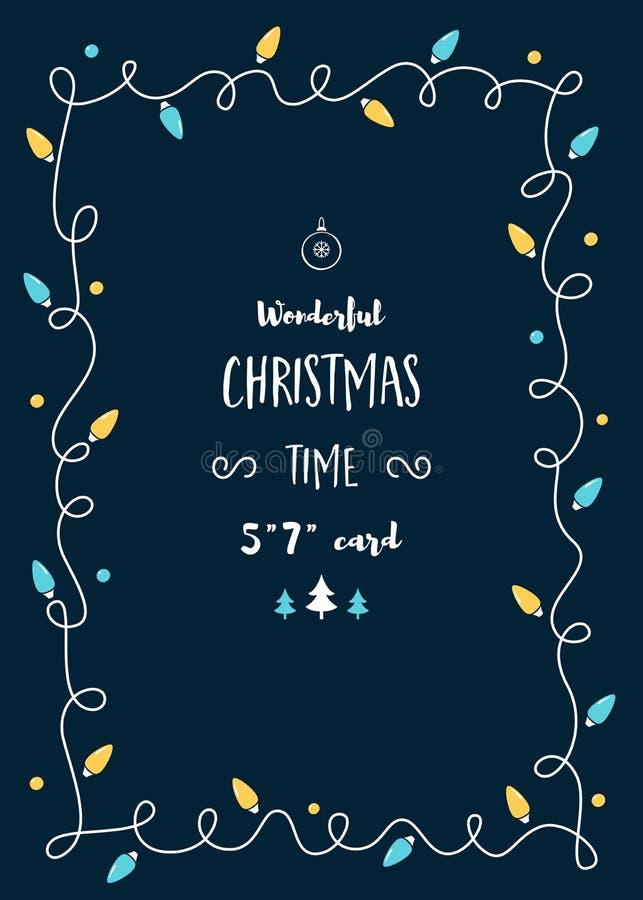 Il modello della cartolina di Natale con l'annata accende la ghirlanda e lo spazio per testo royalty illustrazione gratis