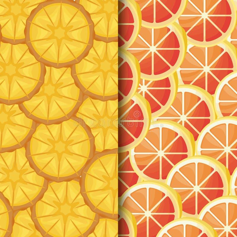 Il modello delle arance fresche ha affettato ed ananas illustrazione di stock