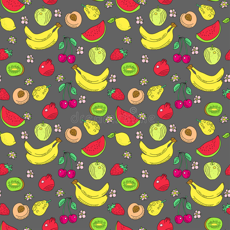 Il modello dello scarabocchio di frutta, colorato fotografie stock