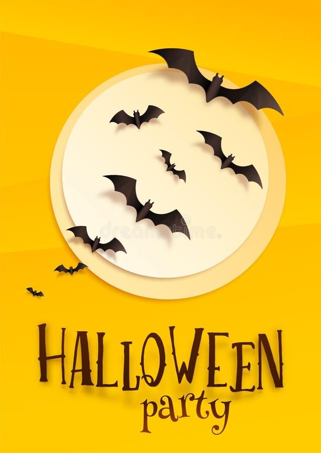 Il modello di carta del manifesto di Halloween di vettore di stile con la luna, i pipistrelli e Halloween fanno festa il segno su illustrazione di stock