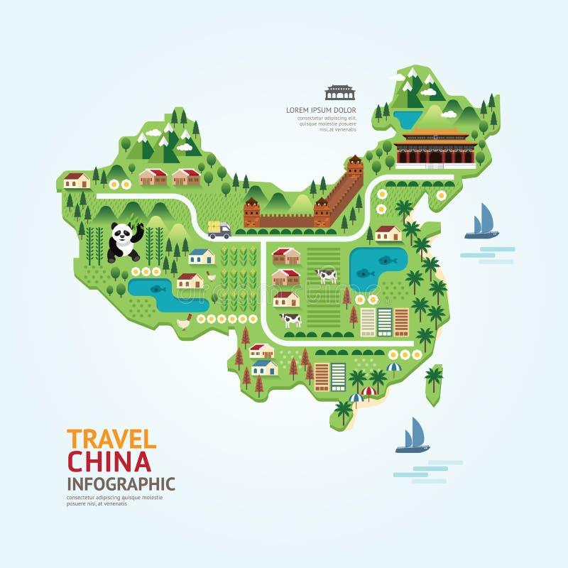 Il modello di forma della mappa della porcellana di viaggio e del punto di riferimento di Infographic progetta illustrazione di stock