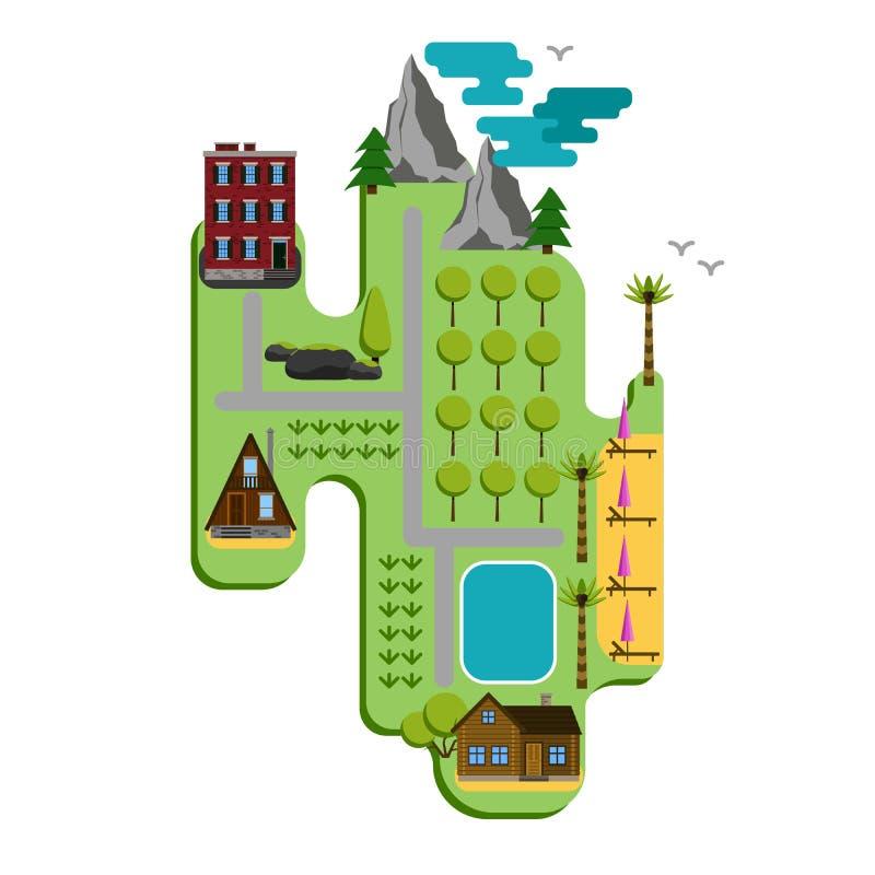 Il modello di forma della mappa di viaggio e del punto di riferimento di Infographic progetta Grafico dell'illustrazione di conce royalty illustrazione gratis