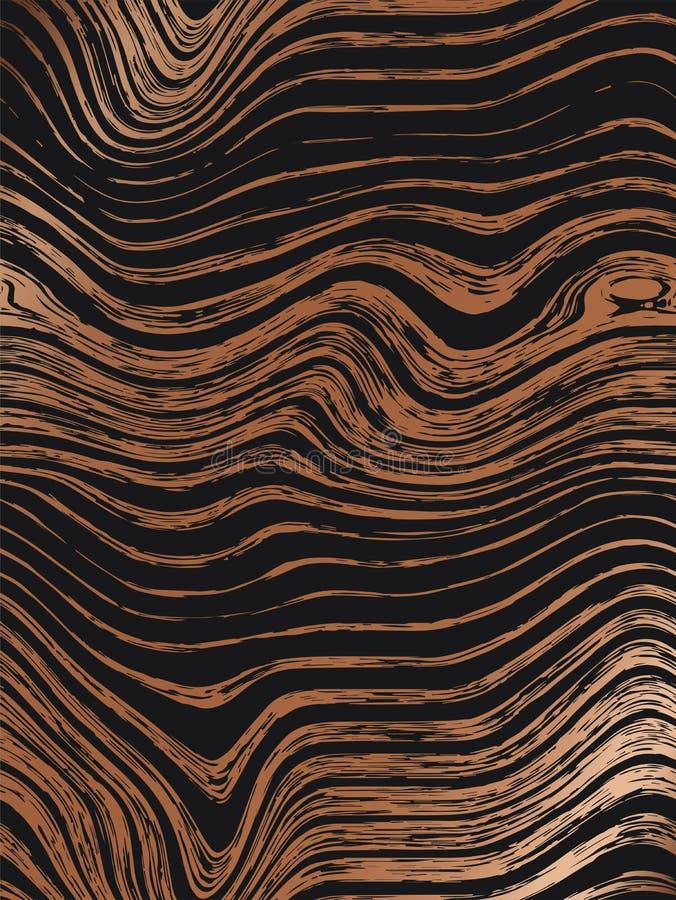 Il modello di legno astratto dell'oro struttura il fondo Struttura di legno di lusso senza cuciture, grafico disegnato a mano del illustrazione vettoriale