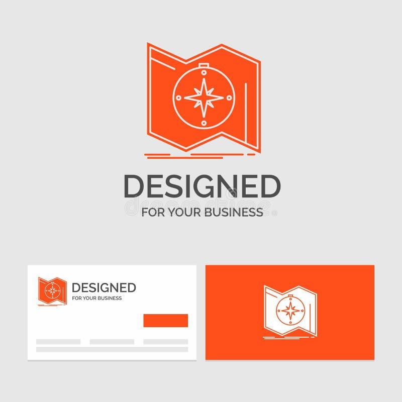 Il modello di logo di affari per la direzione, esplora, traccia, traversa, navigazione Biglietti da visita arancio con il modello illustrazione vettoriale