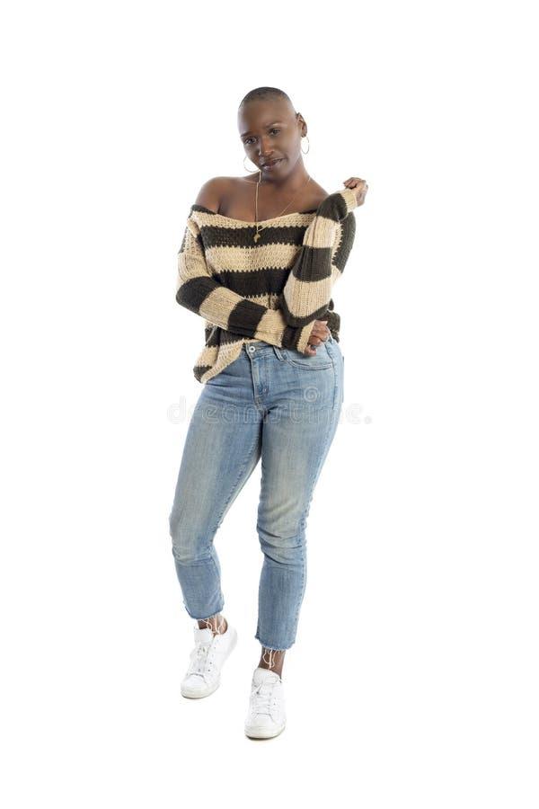 Il modello di moda femminile nero Wearing una lana tricotta il maglione fotografie stock libere da diritti