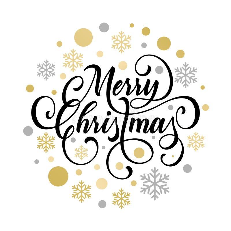 Il modello di progettazione dell'insegna del manifesto o di benvenuto dell'invito della festa di Natale del regalo dorato di Nata illustrazione vettoriale