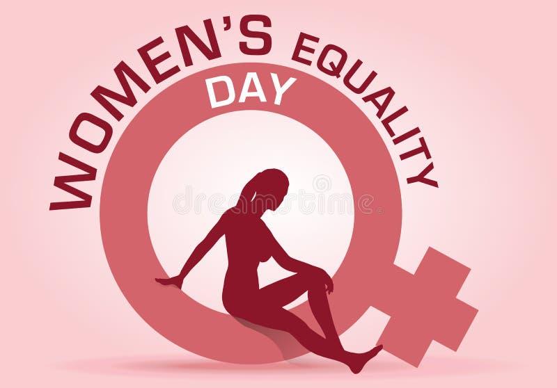 Il modello di vettore del giorno dell'uguaglianza delle donne, siluetta delle donne si siede nel simbolo femminile royalty illustrazione gratis