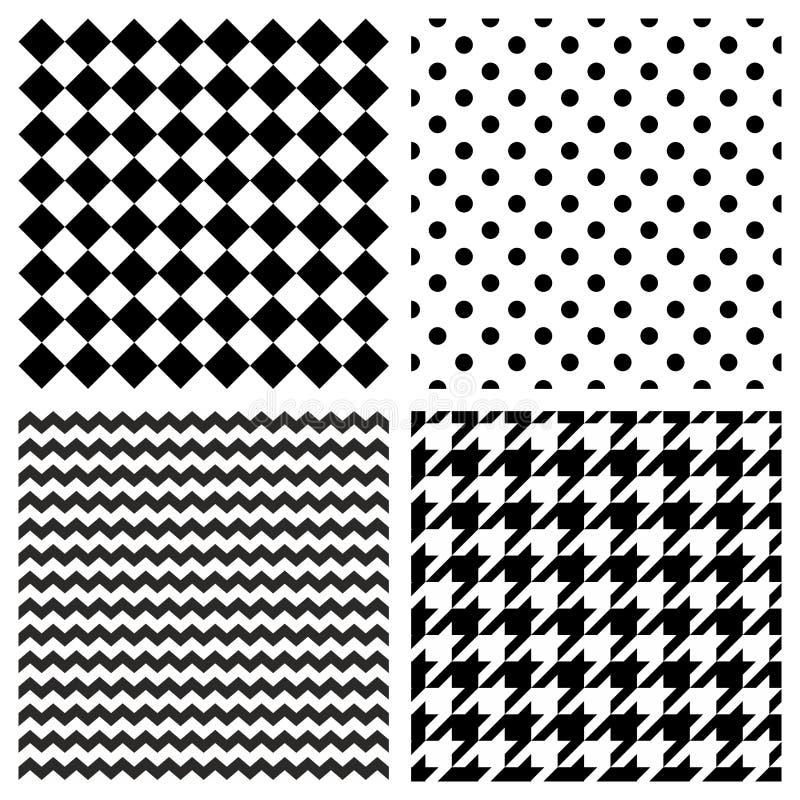 Il modello di vettore delle mattonelle ha messo con i pois in bianco e nero, lo zigzag, dente di segugi e barra il fondo illustrazione vettoriale