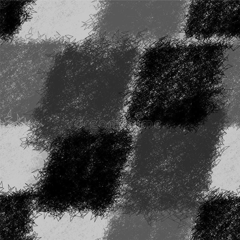 Il modello diagonale senza cuciture con il lerciume ha barrato gli elementi irsuti nella progettazione nera, bianca, grigia royalty illustrazione gratis