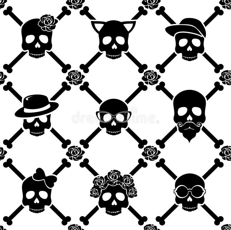 Il modello disadorno del cranio e delle rose royalty illustrazione gratis