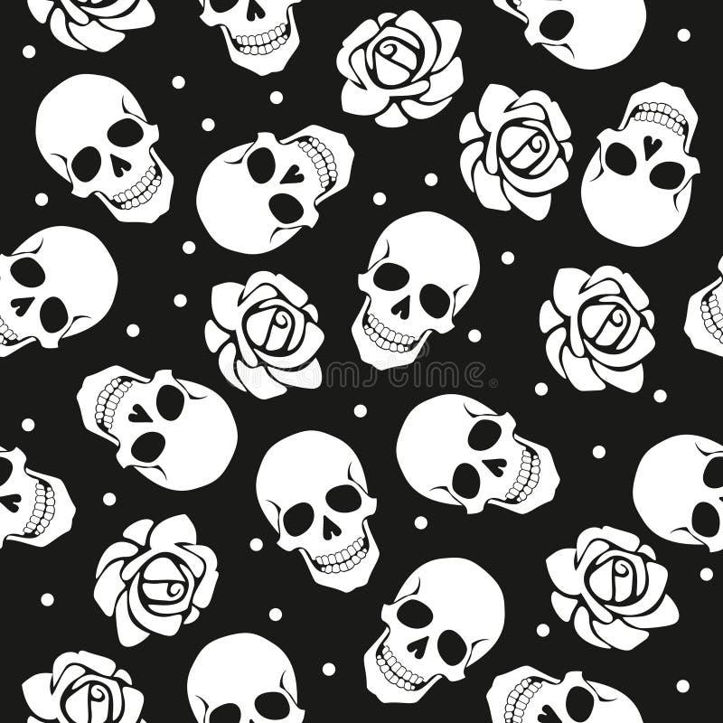 Il modello disadorno del cranio e delle rose illustrazione di stock