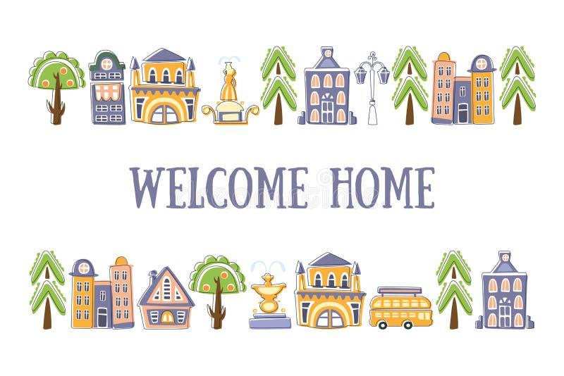 Il modello domestico benvenuto dell'insegna con le costruzioni disegnate a mano sveglie e la via della città obietta l'illustrazi illustrazione vettoriale