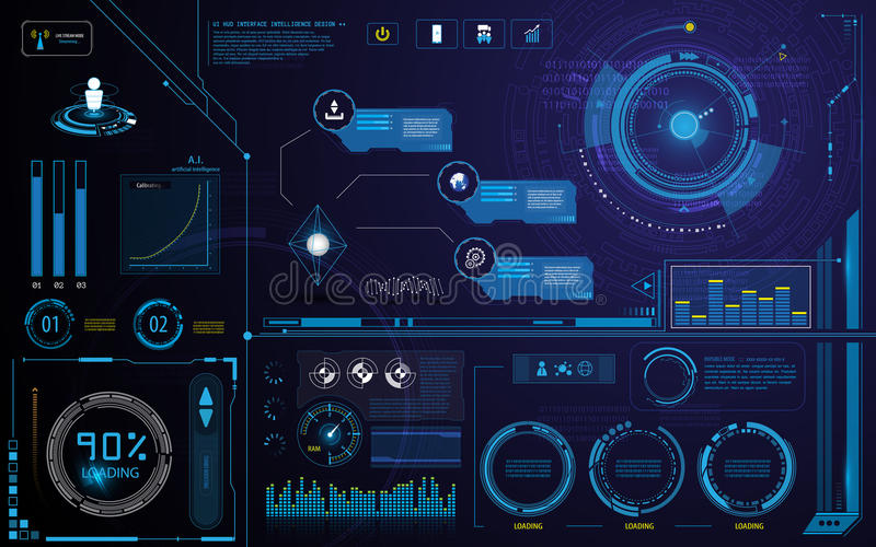 Il modello e l'elemento dell'interfaccia dello schermo dell'innovazione della tecnologia di Hud progettano il fondo illustrazione vettoriale
