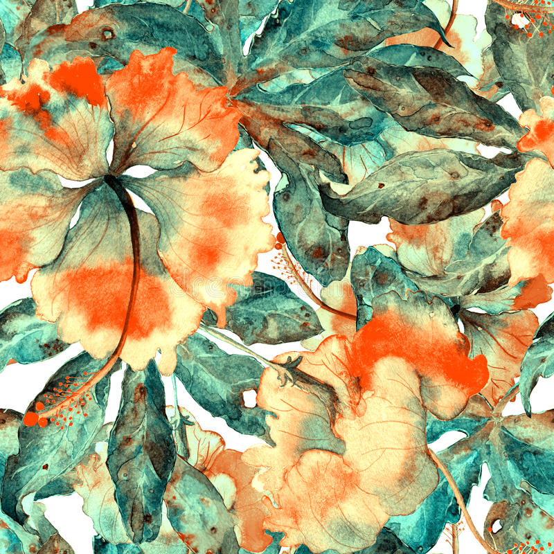Il modello esotico dell'acquerello senza cuciture disegnato a mano con le foglie e l'ibisco della passiflora fiorisce illustrazione di stock