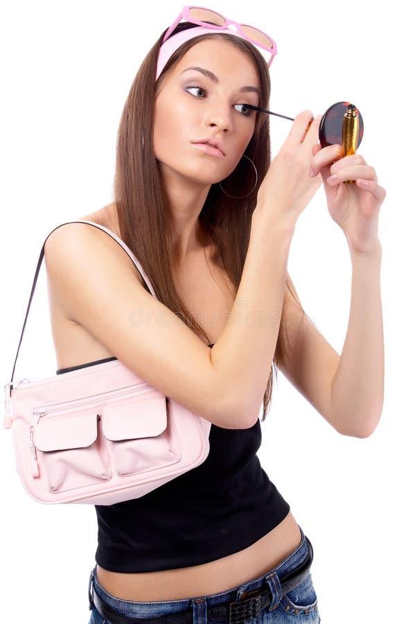 Download Il Modello Fa Il Suo Trucco Immagine Stock - Immagine di ragazza, haired: 7323605