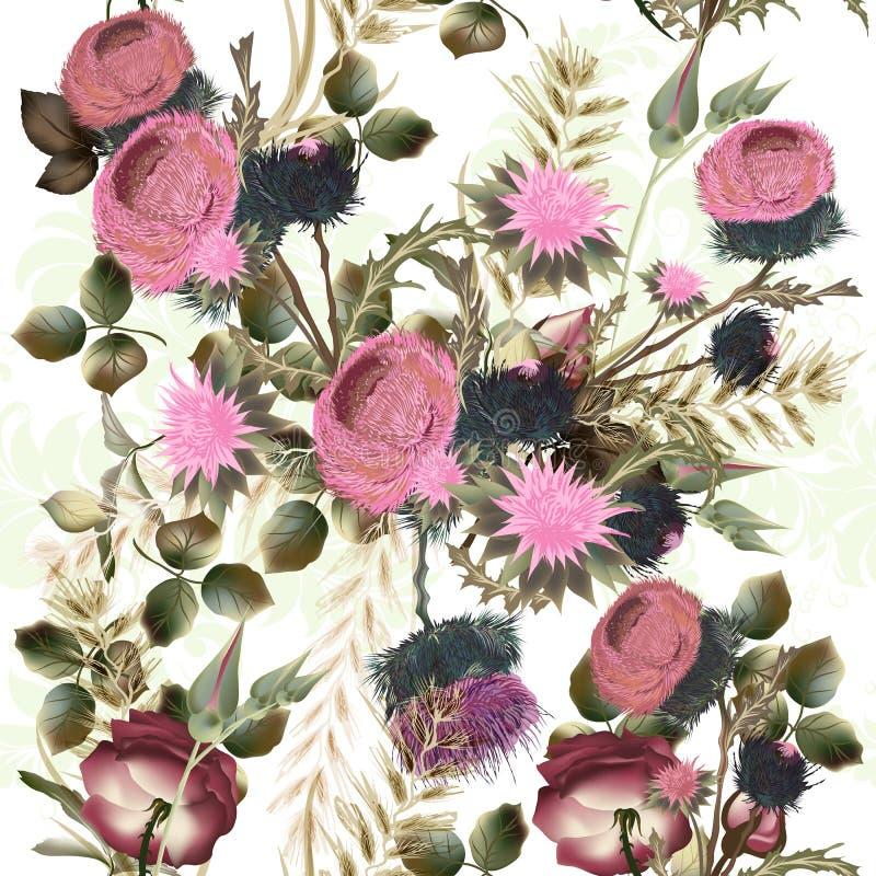 Il modello floreale botanico con il campo fiorisce per progettazione Le FO ideali illustrazione di stock
