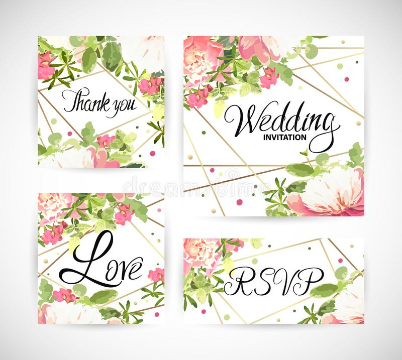 Il modello floreale di nozze invita Illustrazione di vettore illustrazione vettoriale