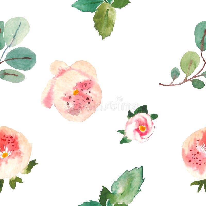 Il modello floreale senza cuciture per i tessuti, imballante, Wallpaper, coperture Fondo floreale dell'acquerello disegnato a man illustrazione vettoriale