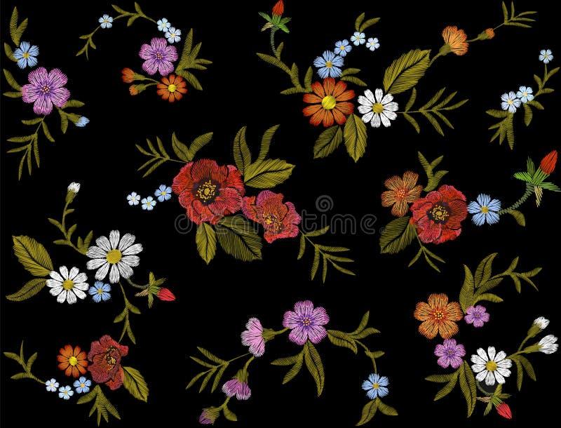 Il modello floreale variopinto del ricamo con le rose canine ed il myosotis fiorisce Ornamento piega tradizionale di modo di vett illustrazione di stock