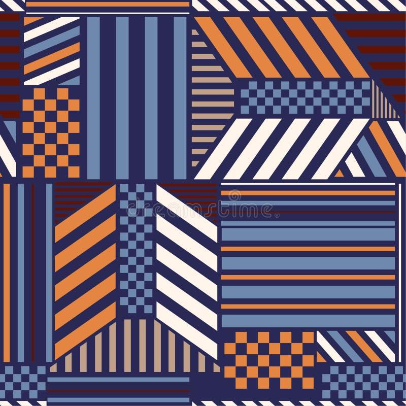 Il modello geometrico d'avanguardia variopinto con la banda audace luminosa blocca la miscela con gli elementi moderni a quadrett illustrazione di stock